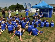 4 July 2018; Leinster players Noel Reid  and Fergus McFadden answer children's questions during the Bank of Ireland Leinster Rugby Summer Camp at Wexford Wanderers RFC in Wexford. Photo by Matt Browne/Sportsfile