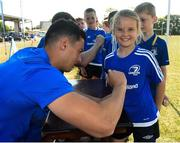 4 July 2018; Leinster player Noel Reid signs Ellis Bell's jersey during the Bank of Ireland Leinster Rugby Summer Camp at Wexford Wanderers RFC in Wexford. Photo by Matt Browne/Sportsfile