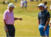 4 July 2018; Dermot Desmond and Rory McIlroy of Northern Ireland during the Pro-Am round ahead of the Irish Open Golf Championship at Ballyliffin Golf Club in Ballyliffin, Co. Donegal. Photo by Oliver McVeigh/Sportsfile