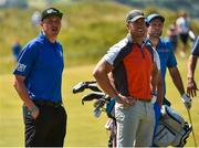 4 July 2018; Kerry GAA player Kieran Donaghy, left, former Ulster, Ireland and British Lions player Stephen Ferris, centre, and Donegal GAA player Michael Murphy on the 10th fairway during the Pro-Am round ahead of the Irish Open Golf Championship at Ballyliffin Golf Club in Ballyliffin, Co. Donegal. Photo by Oliver McVeigh/Sportsfile