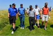 4 July 2018; Players, from left, Kerry footballer Kieran Donaghy, Donegal footballer Michael Murphy, golfer Pablo Larrazabal of Spain, and former Ulster and Ireland player Stephen Ferris during the Pro-Am round ahead of the Irish Open Golf Championship at Ballyliffin Golf Club in Ballyliffin, Co. Donegal. Photo by Ramsey Cardy/Sportsfile