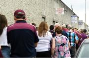 4 July 2018; Fans queue for tickets prior to the Bord Gais Energy Leinster Under 21 Hurling Championship 2018 Final match between Wexford and Galway at O'Moore Park in Portlaoise, Co Laois. Photo by Harry Murphy/Sportsfile