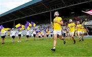 4 July 2018; Conor Firman of Wexford leads out the Wexford team prior to the Bord Gais Energy Leinster Under 21 Hurling Championship 2018 Final match between Wexford and Galway at O'Moore Park in Portlaoise, Co Laois. Photo by Sam Barnes/Sportsfile