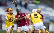 4 July 2018; Evan Niland of Galway in action against Damien Reck, left, and Aaron Maddock of Wexford during the Bord Gais Energy Leinster Under 21 Hurling Championship 2018 Final match between Wexford and Galway at O'Moore Park in Portlaoise, Co Laois. Photo by Sam Barnes/Sportsfile