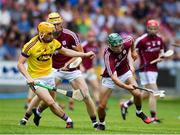 4 July 2018; Evan Niland of Galway in action against Damien Reck of Wexford during the Bord Gais Energy Leinster Under 21 Hurling Championship 2018 Final match between Wexford and Galway at O'Moore Park in Portlaoise, Co Laois. Photo by Sam Barnes/Sportsfile