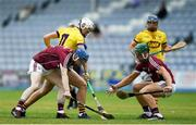 4 July 2018; Rory O'Connor of Wexford in action against Shane Bannon, left, and Fintan Burke of Galway during the Bord Gais Energy Leinster Under 21 Hurling Championship 2018 Final match between Wexford and Galway at O'Moore Park in Portlaoise, Co Laois. Photo by Harry Murphy/Sportsfile