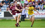 4 July 2018; Mark Hughes of Galway in action against Rory Higgins of Wexford during the Bord Gais Energy Leinster Under 21 Hurling Championship 2018 Final match between Wexford and Galway at O'Moore Park in Portlaoise, Co Laois. Photo by Harry Murphy/Sportsfile