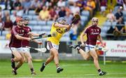 4 July 2018; Seamus Casey of Wexford in action against Jack Grealish of Galway during the Bord Gais Energy Leinster Under 21 Hurling Championship 2018 Final match between Wexford and Galway at O'Moore Park in Portlaoise, Co Laois. Photo by Harry Murphy/Sportsfile