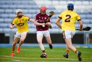 4 July 2018; Tomas Monaghan of Galway shoots to score his side's first goal, despite the efforts of Rowan White, left, and Shane Reck of Wexford during the Bord Gais Energy Leinster Under 21 Hurling Championship 2018 Final match between Wexford and Galway at O'Moore Park in Portlaoise, Co Laois. Photo by Sam Barnes/Sportsfile
