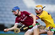4 July 2018; Kevin Cooney of Galway in action against Ian Carthy of Wexford during the Bord Gais Energy Leinster Under 21 Hurling Championship 2018 Final match between Wexford and Galway at O'Moore Park in Portlaoise, Co Laois. Photo by Sam Barnes/Sportsfile