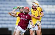 4 July 2018; Tomas Monaghan of Galway celebrates after scoring his side's first goal during the Bord Gais Energy Leinster Under 21 Hurling Championship 2018 Final match between Wexford and Galway at O'Moore Park in Portlaoise, Co Laois. Photo by Sam Barnes/Sportsfile