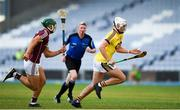 4 July 2018; Rory O'Connor of Wexford in action against Fintan Burke of Galway during the Bord Gais Energy Leinster Under 21 Hurling Championship 2018 Final match between Wexford and Galway at O'Moore Park in Portlaoise, Co Laois. Photo by Harry Murphy/Sportsfile