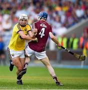 4 July 2018; Rory O'Connor of Wexford is tackled by Shane Bannon of Galway during the Bord Gais Energy Leinster Under 21 Hurling Championship 2018 Final match between Wexford and Galway at O'Moore Park in Portlaoise, Co Laois. Photo by Harry Murphy/Sportsfile