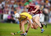 4 July 2018; Rory O'Connor of Wexford in action against Cianan Fahy of Galway during the Bord Gais Energy Leinster Under 21 Hurling Championship 2018 Final match between Wexford and Galway at O'Moore Park in Portlaoise, Co Laois. Photo by Sam Barnes/Sportsfile