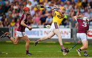 4 July 2018; Stephen O'Gorman of Wexford in action against Shane Bannon of Galway during the Bord Gais Energy Leinster Under 21 Hurling Championship 2018 Final match between Wexford and Galway at O'Moore Park in Portlaoise, Co Laois. Photo by Harry Murphy/Sportsfile