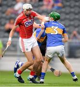 4 July 2018; Tim O'Mahony of Cork in action against Killian O'Dwyer of Tipperary during the Bord Gáis Energy Munster GAA Hurling U21 Championship Final match between Cork and Tipperary at Pairc Ui Chaoimh in Cork. Photo by Eóin Noonan/Sportsfile