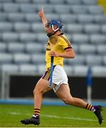 4 July 2018; Seamus Casey of Wexford celebrates after scoring his side's first goal during the Bord Gais Energy Leinster Under 21 Hurling Championship 2018 Final match between Wexford and Galway at O'Moore Park in Portlaoise, Co Laois. Photo by Sam Barnes/Sportsfile