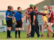 4 July 2018; Galway manager Tony Ward remonstrates with the officials before the start of extra time during the Bord Gais Energy Leinster Under 21 Hurling Championship 2018 Final match between Wexford and Galway at O'Moore Park in Portlaoise, Co Laois. Photo by Harry Murphy/Sportsfile
