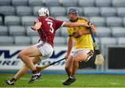 4 July 2018; Seamus Casey of Wexford in action against Jack Fitzpatrick of Galway during the Bord Gais Energy Leinster Under 21 Hurling Championship 2018 Final match between Wexford and Galway at O'Moore Park in Portlaoise, Co Laois. Photo by Sam Barnes/Sportsfile