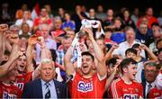 4 July 2018; Cork captain Shane Kingston lifts the cup following the Bord Gáis Energy Munster GAA Hurling U21 Championship Final match between Cork and Tipperary at Pairc Ui Chaoimh in Cork. Photo by Eóin Noonan/Sportsfile