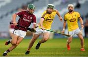 4 July 2018; Evan Niland of Galway in action against Garry Molloy of Wexford during the Bord Gais Energy Leinster Under 21 Hurling Championship 2018 Final match between Wexford and Galway at O'Moore Park in Portlaoise, Co Laois. Photo by Harry Murphy/Sportsfile