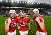 4 July 2018; Cork players, from left, Eoghan Murphy, Mark Coleman and David Griffin celebrate following the Bord Gáis Energy Munster GAA Hurling U21 Championship Final match between Cork and Tipperary at Pairc Ui Chaoimh in Cork. Photo by Eóin Noonan/Sportsfile