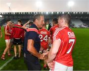 4 July 2018; Cork senior hurling manager John Meyler congratulates Billy Hennessy of Cork following the Bord Gáis Energy Munster GAA Hurling U21 Championship Final match between Cork and Tipperary at Pairc Ui Chaoimh in Cork. Photo by Eóin Noonan/Sportsfile