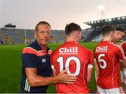 4 July 2018; Cork senior hurling manager John Meyler congratulates Robbie O'Flynn of Cork following the Bord Gáis Energy Munster GAA Hurling U21 Championship Final match between Cork and Tipperary at Pairc Ui Chaoimh in Cork. Photo by Eóin Noonan/Sportsfile