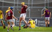4 July 2018; Sean Bleahene, centre, of Galway celebrates after scoring the winning goal at the end of extra time during the Bord Gais Energy Leinster Under 21 Hurling Championship 2018 Final match between Wexford and Galway at O'Moore Park in Portlaoise, Co Laois. Photo by Sam Barnes/Sportsfile