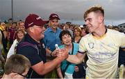 4 July 2018; Jack Canning of Galway celebrates with Galway manager Tony Ward following the Bord Gais Energy Leinster Under 21 Hurling Championship 2018 Final match between Wexford and Galway at O'Moore Park in Portlaoise, Co Laois. Photo by Sam Barnes/Sportsfile