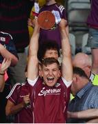 4 July 2018; Galway captain Fintan Burke lifts the cup following the Bord Gais Energy Leinster Under 21 Hurling Championship 2018 Final match between Wexford and Galway at O'Moore Park in Portlaoise, Co Laois. Photo by Sam Barnes/Sportsfile