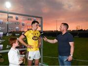 4 July 2018; Rory O'Connor of Wexford is interviewd by Marcus Ó Buachalla whilst Daniel Jordan, aged 7, from Oranmore, Co. Galway, waits to award Rory O'Connor with his Bord Gáis Energy Man of the Match award following the meeting of Wexford and Galway in the Bord Gáis Energy GAA Hurling U21 Munster Championship Final at O'Moore Park, Portlaoise. Bord Gáis Energy offers its customers unmissable rewards throughout the Championship season, including match tickets and hospitality, access to training camps with Hurling stars and the opportunity to present Man of the Match Awards at U21 games. Photo by Harry Murphy/Sportsfile