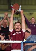 4 July 2018; Galway captain Fintan Burke lifts the trophy after the Bord Gais Energy Leinster Under 21 Hurling Championship 2018 Final match between Wexford and Galway at O'Moore Park in Portlaoise, Co Laois. Photo by Harry Murphy/Sportsfile