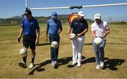 4 July 2018; Players, from left, Kerry footballer Kieran Donaghy, Donegal footballer Michael Murphy, golfers Shane Lowry and Paul Dunne during a GAA Target Challenge ahead of the Irish Open Golf Championship at Ballyliffin Golf Club in Ballyliffin, Co. Donegal. Photo by Ramsey Cardy/Sportsfile