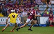 4 July 2018; Brian Concannon of Galway in action against Rowan White of Wexford during the Bord Gais Energy Leinster Under 21 Hurling Championship 2018 Final match between Wexford and Galway at O'Moore Park in Portlaoise, Co Laois. Photo by Sam Barnes/Sportsfile