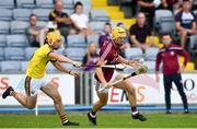 4 July 2018; Sean Bleahene of Galway in action against Darren Byrne of Wexford during the Bord Gais Energy Leinster Under 21 Hurling Championship 2018 Final match between Wexford and Galway at O'Moore Park in Portlaoise, Co Laois. Photo by Sam Barnes/Sportsfile