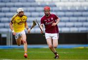 4 July 2018; Tomas Monaghan of Galway in action against Rowan White of Wexford during the Bord Gais Energy Leinster Under 21 Hurling Championship 2018 Final match between Wexford and Galway at O'Moore Park in Portlaoise, Co Laois. Photo by Sam Barnes/Sportsfile