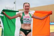 6 July 2018; Sarah Healy of Ireland celebrates after winning the Women's 3000m final during the European Atletics U18 European Championship in Gyor, Hungary. Photo by Giancarlo Columbo/Sportsfile