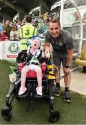 7 July 2018; Celtic manager Brendan Rodgers with Celtic supporter Caoilte Fitzsimmons, age 5, from Belfast, Northern Ireland, prior to the friendly match between Shamrock Rovers and Glasgow Celtic at Tallaght Stadium in Tallaght, Co. Dublin. Photo by David Fitzgerald/Sportsfile
