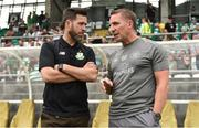 7 July 2018; Celtic manager Brendan Rodgers, right, alongside Shamrock Rovers manager Stephen Bradley prior to the friendly match between Shamrock Rovers and Glasgow Celtic at Tallaght Stadium in Tallaght, Co. Dublin. Photo by David Fitzgerald/Sportsfile