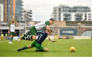 7 July 2018; Callum McGregor of Celtic in action against Aaron Bolger of Shamrock Rovers during the friendly match between Shamrock Rovers and Glasgow Celtic at Tallaght Stadium in Tallaght, Co. Dublin. Photo by David Fitzgerald/Sportsfile