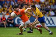 7 July 2018; Aidan Forker of Armagh in action against David Murray of Roscommon during the GAA Football All-Ireland Senior Championship Round 4 match between Roscommon and Armagh at O'Moore Park in Portlaoise, Co. Laois. Photo by Brendan Moran/Sportsfile