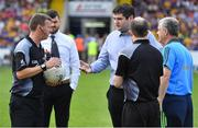 7 July 2018; Roscommon manager Kevin McStay, right, has words with referee Joe McQuillan prior to the GAA Football All-Ireland Senior Championship Round 4 match between Roscommon and Armagh at O'Moore Park in Portlaoise, Co. Laois. Photo by Brendan Moran/Sportsfile