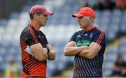 7 July 2018; Armagh manager Kieran McGeeney, left, with Armagh selector Jim McCorry prior to the GAA Football All-Ireland Senior Championship Round 4 match between Roscommon and Armagh at O'Moore Park in Portlaoise, Co. Laois. Photo by Brendan Moran/Sportsfile
