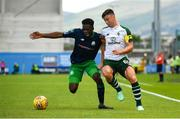 7 July 2018; Kieran Tierney of Celtic in action against Thomas Oluwya of Shamrock Rovers during the friendly match between Shamrock Rovers and Glasgow Celtic at Tallaght Stadium in Tallaght, Co. Dublin. Photo by David Fitzgerald/Sportsfile