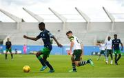 7 July 2018; Martins Olakanye of Shamrock Rovers in action against Kieran Tierney of Celtic during the friendly match between Shamrock Rovers and Glasgow Celtic at Tallaght Stadium in Tallaght, Co. Dublin.  Photo by David Fitzgerald/Sportsfile