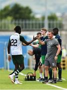 7 July 2018; Celtic manager Brendan Rodgers high fives Odsonne Edouard of Celtic as he is substituted during the friendly match between Shamrock Rovers and Glasgow Celtic at Tallaght Stadium in Tallaght, Co. Dublin.  Photo by David Fitzgerald/Sportsfile