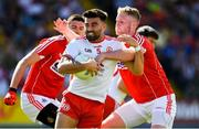 7 July 2018; Tiernan McCann of Tyrone in action against Ruairi Deane of Cork during the GAA Football All-Ireland Senior Championship Round 4 between Cork and Tyrone at O'Moore Park in Portlaoise, Co. Laois. Photo by Brendan Moran/Sportsfile