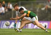 7 July 2018; Nathan Sherry of Kildare in action against Lee Donoghue of Kerry during the GAA Football All-Ireland Junior Championship semi-final between Kildare and Kerry at Páirc Tailteann in Navan, Co. Meath. Photo by Piaras Ó Mídheach/Sportsfile