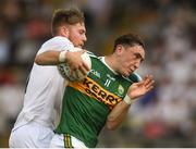 7 July 2018; Paudie Clifford of Kerry in action against Nathan Sherry of Kildare during the GAA Football All-Ireland Junior Championship semi-final between Kildare and Kerry at Páirc Tailteann in Navan, Co. Meath. Photo by Piaras Ó Mídheach/Sportsfile